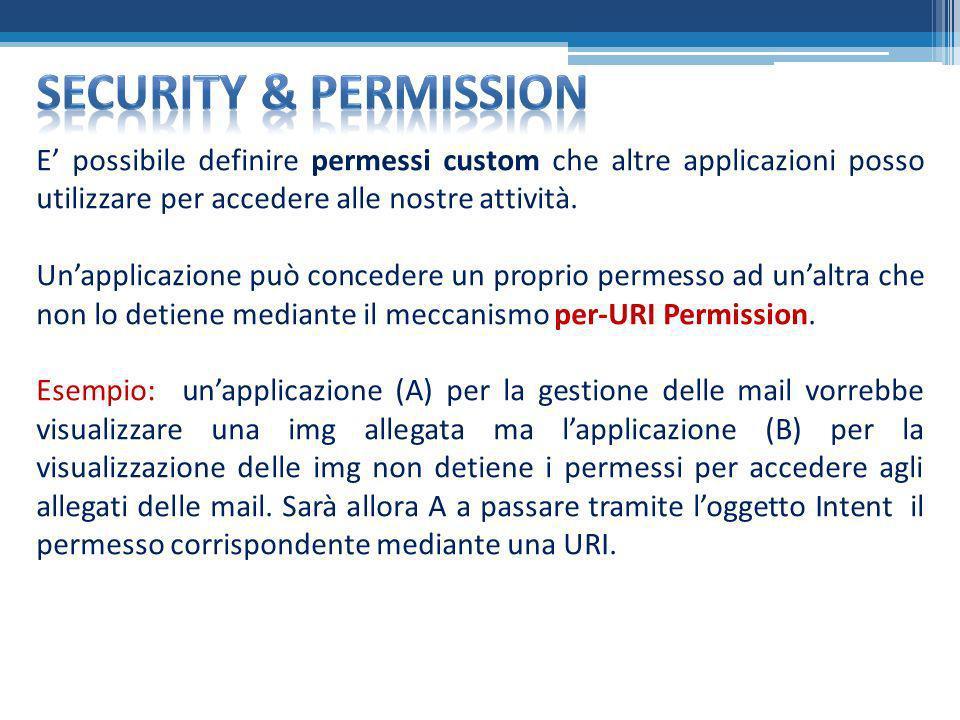 E possibile definire permessi custom che altre applicazioni posso utilizzare per accedere alle nostre attività. Unapplicazione può concedere un propri