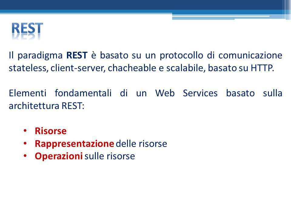Il paradigma REST è basato su un protocollo di comunicazione stateless, client-server, chacheable e scalabile, basato su HTTP. Elementi fondamentali d