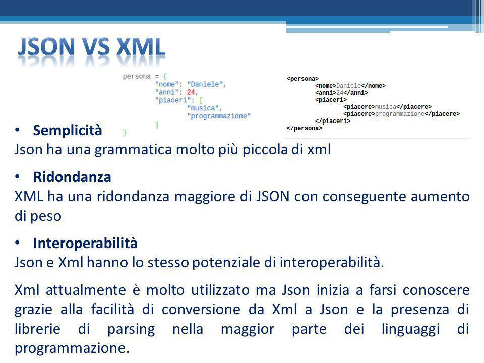 Semplicità Json ha una grammatica molto più piccola di xml Ridondanza XML ha una ridondanza maggiore di JSON con conseguente aumento di peso Interoper