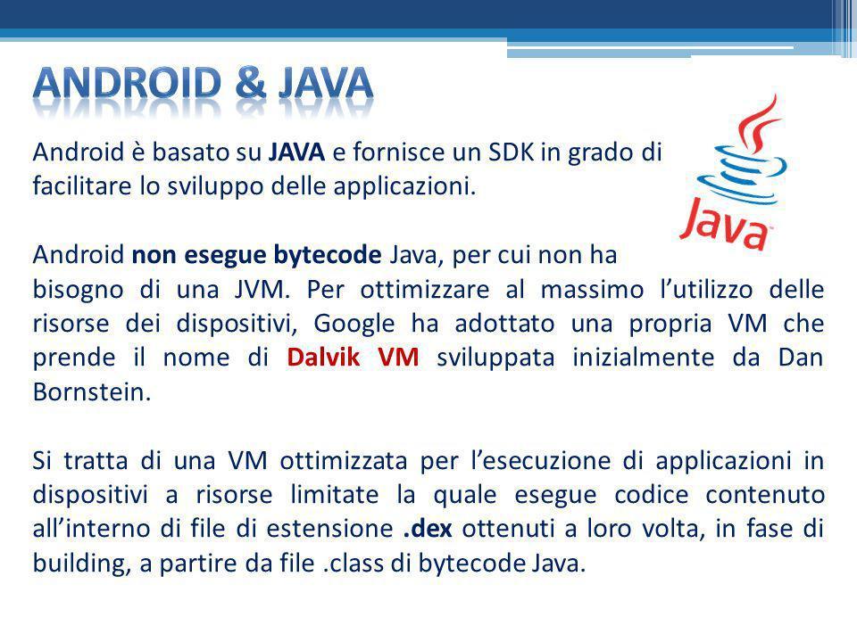 Android è basato su JAVA e fornisce un SDK in grado di facilitare lo sviluppo delle applicazioni. Android non esegue bytecode Java, per cui non ha bis