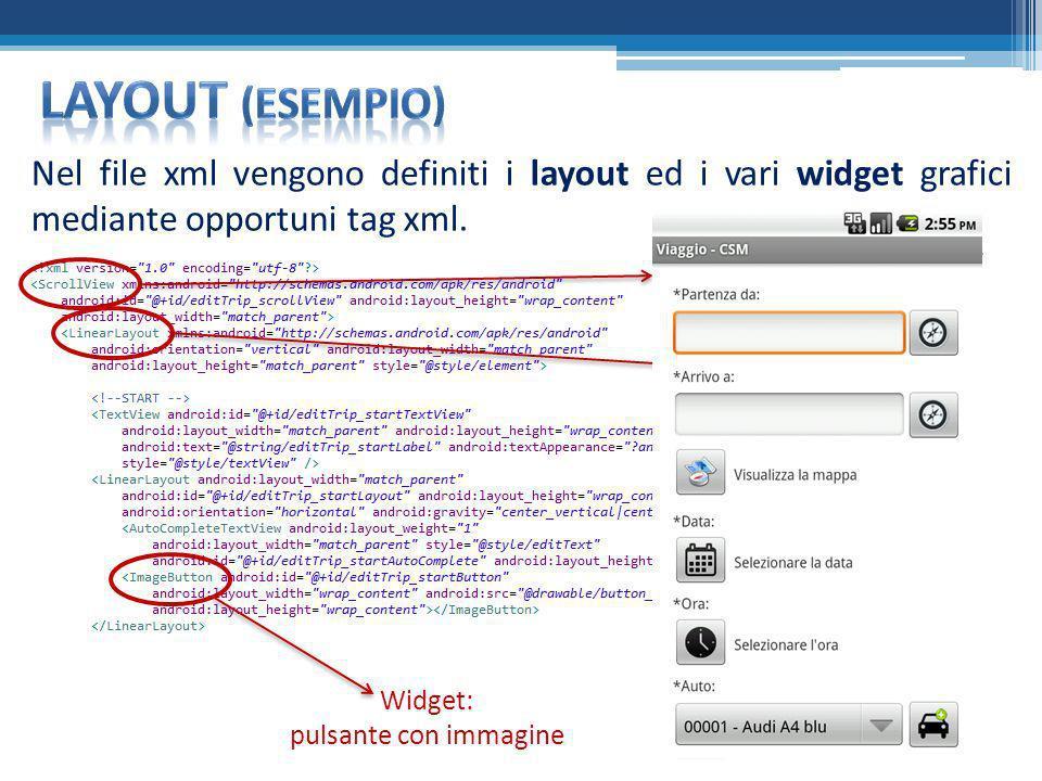 Nel file xml vengono definiti i layout ed i vari widget grafici mediante opportuni tag xml. Attiva lo scroller sul display se necessario Contenitore p