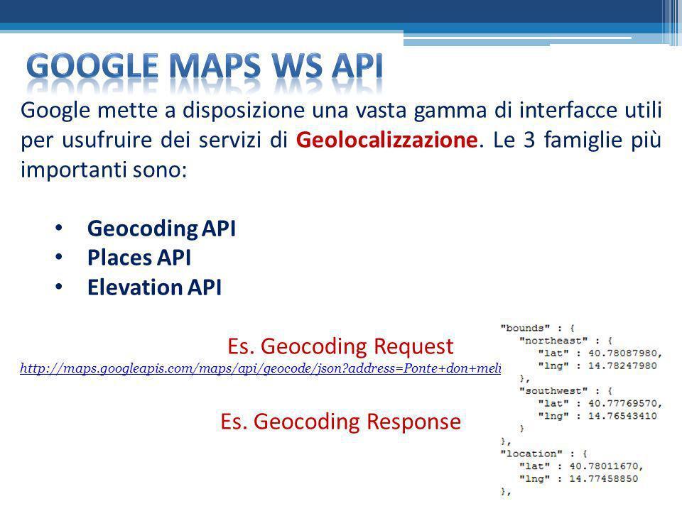 Google mette a disposizione una vasta gamma di interfacce utili per usufruire dei servizi di Geolocalizzazione. Le 3 famiglie più importanti sono: Geo