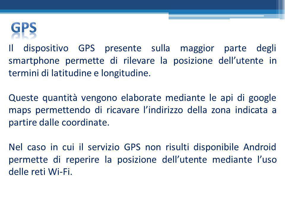 Il dispositivo GPS presente sulla maggior parte degli smartphone permette di rilevare la posizione dellutente in termini di latitudine e longitudine.