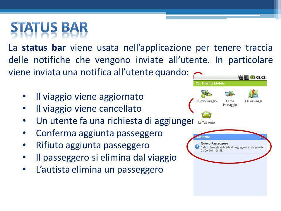 La status bar viene usata nellapplicazione per tenere traccia delle notifiche che vengono inviate allutente. In particolare viene inviata una notifica
