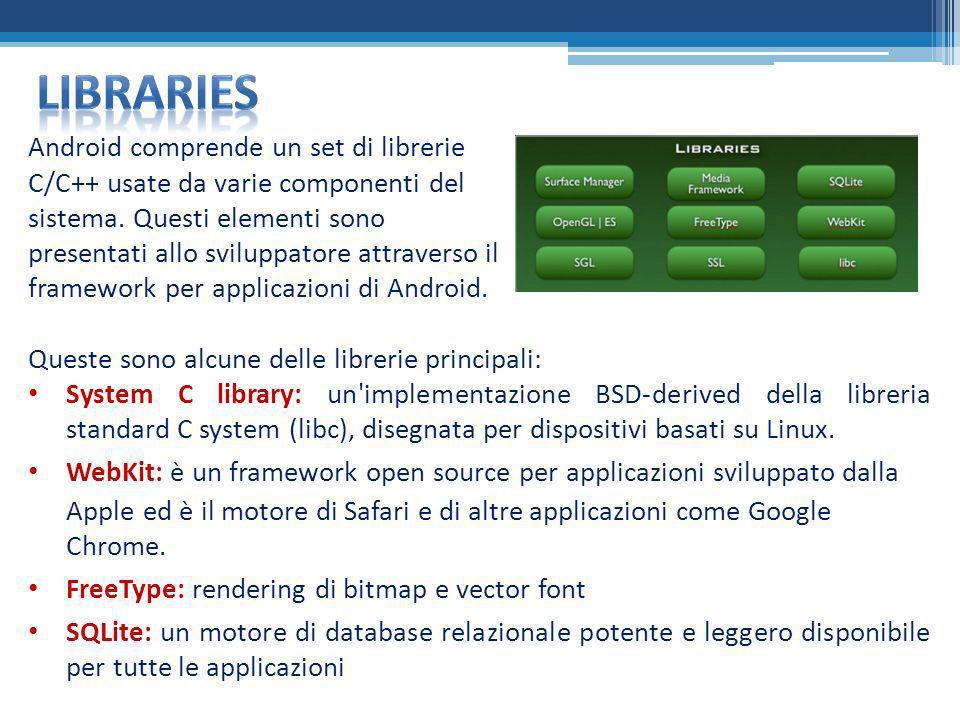 Android comprende un set di librerie C/C++ usate da varie componenti del sistema. Questi elementi sono presentati allo sviluppatore attraverso il fram