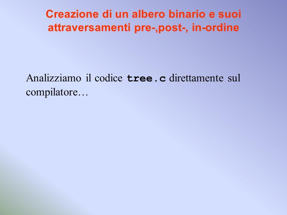 Creazione di un albero binario e suoi attraversamenti pre-,post-, in-ordine Analizziamo il codice tree.c direttamente sul compilatore…