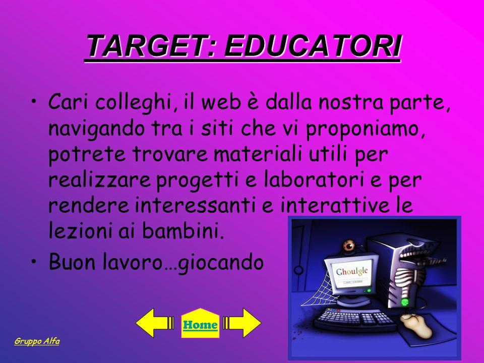 TARGET: EDUCATORI Cari colleghi, il web è dalla nostra parte, navigando tra i siti che vi proponiamo, potrete trovare materiali utili per realizzare p