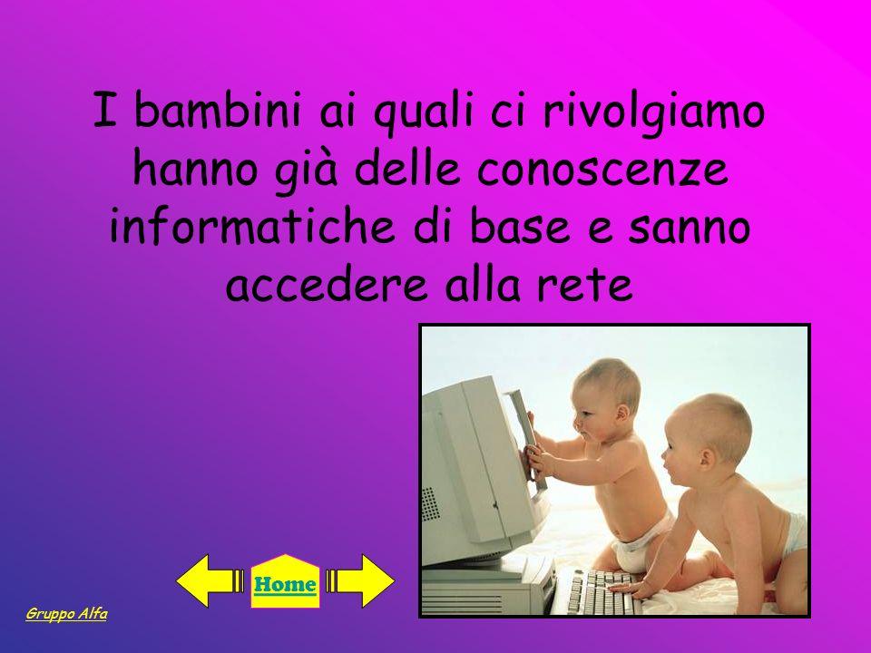 I bambini ai quali ci rivolgiamo hanno già delle conoscenze informatiche di base e sanno accedere alla rete Gruppo Alfa Home