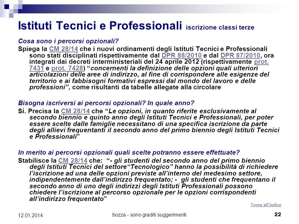 bozza - sono graditi suggerimenti22 12.01.2014 Istituti Tecnici e Professionali iscrizione classi terze Cosa sono i percorsi opzionali? Spiega la CM 2