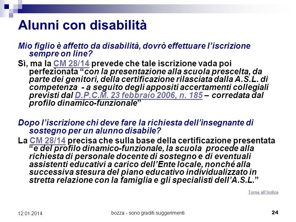 bozza - sono graditi suggerimenti24 12.01.2014 Alunni con disabilità Mio figlio è affetto da disabilità, dovrò effettuare liscrizione sempre on line?