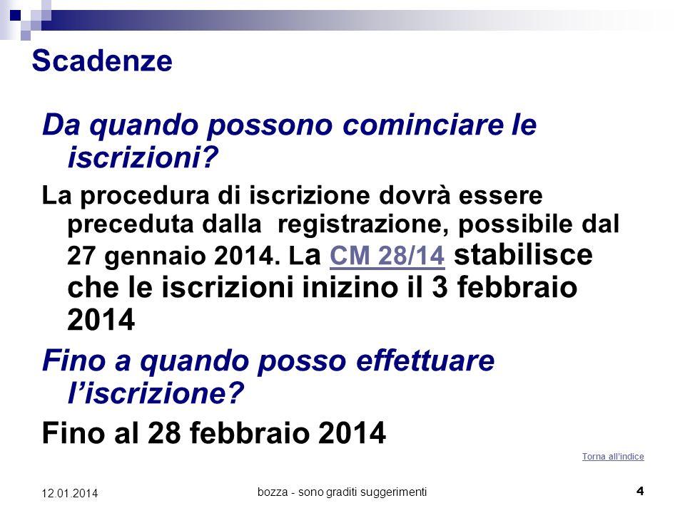 bozza - sono graditi suggerimenti4 12.01.2014 Scadenze Da quando possono cominciare le iscrizioni.