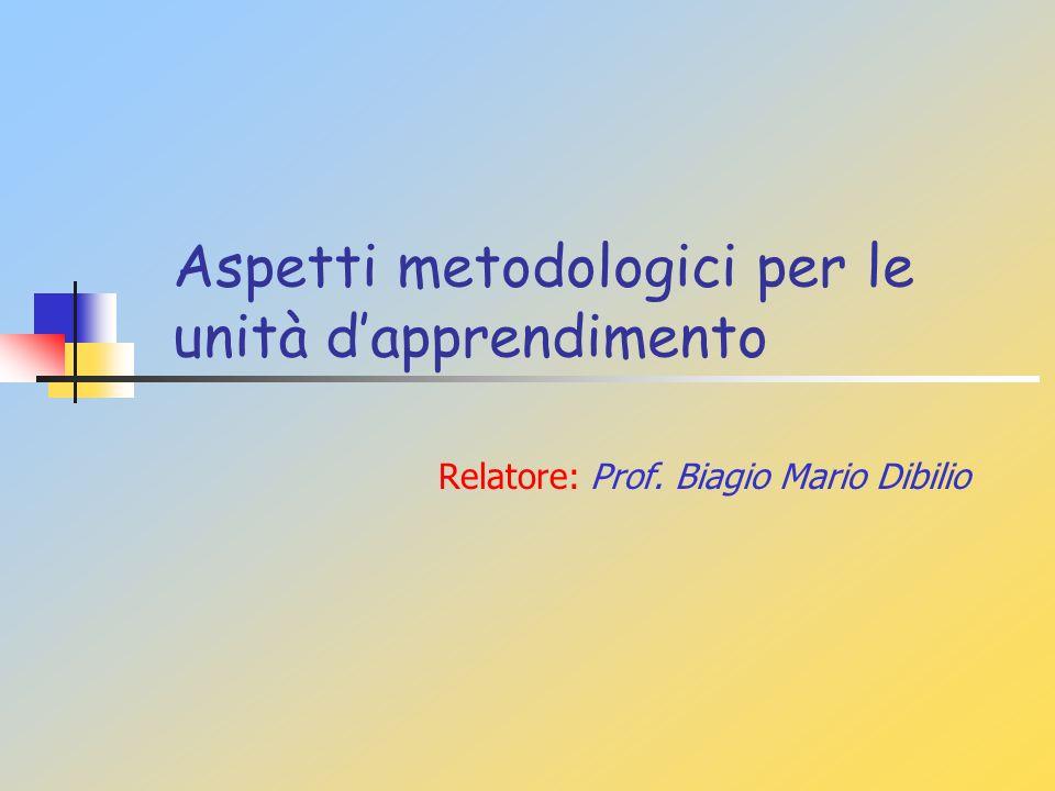 Aspetti metodologici per le unità dapprendimento Relatore: Prof. Biagio Mario Dibilio