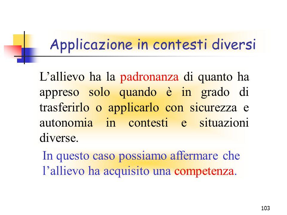 103 Applicazione in contesti diversi Lallievo ha la padronanza di quanto ha appreso solo quando è in grado di trasferirlo o applicarlo con sicurezza e