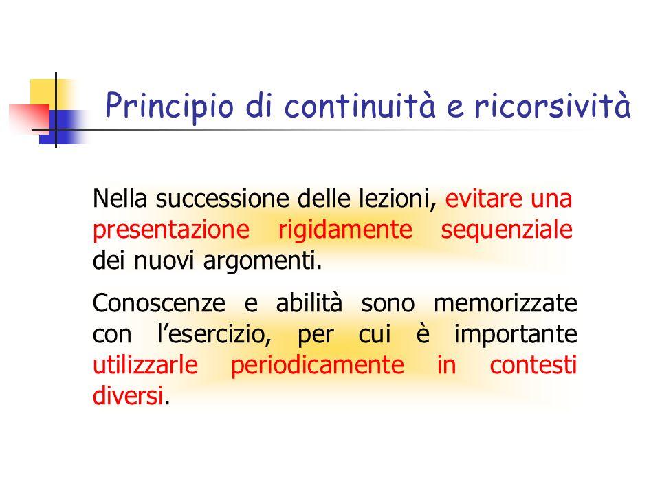 Principio di continuità e ricorsività Conoscenze e abilità sono memorizzate con lesercizio, per cui è importante utilizzarle periodicamente in contesti diversi.