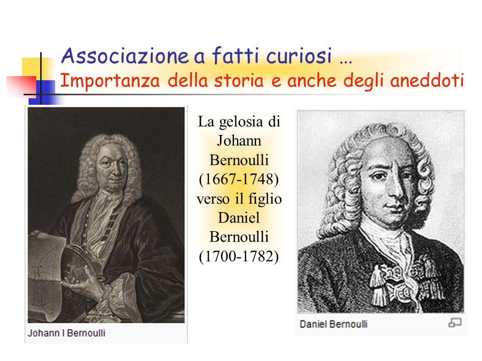 Associazione a fatti curiosi … Importanza della storia e anche degli aneddoti La gelosia di Johann Bernoulli (1667-1748) verso il figlio Daniel Bernoulli (1700-1782)