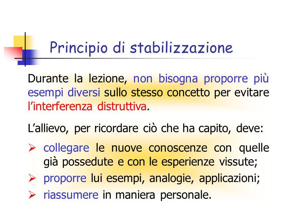 Principio di stabilizzazione Lallievo, per ricordare ciò che ha capito, deve: collegare le nuove conoscenze con quelle già possedute e con le esperienze vissute; proporre lui esempi, analogie, applicazioni; riassumere in maniera personale.