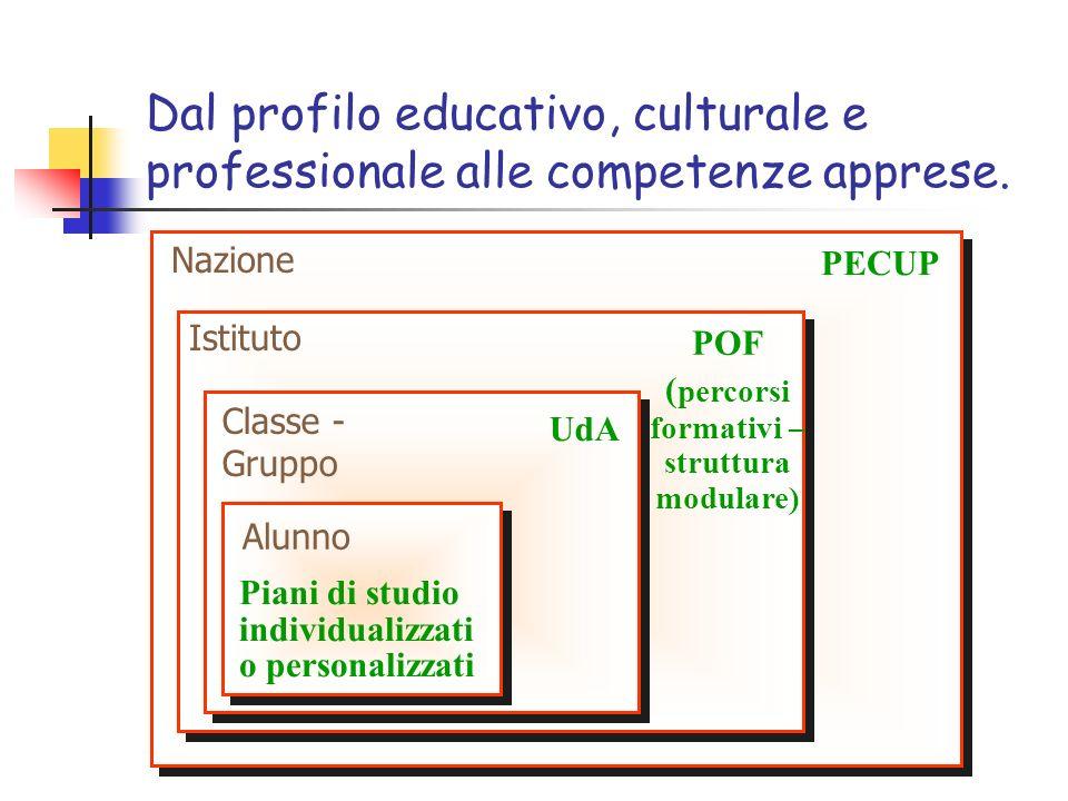 Dal profilo educativo, culturale e professionale alle competenze apprese. PECUP POF ( percorsi formativi – struttura modulare) UdA Piani di studio ind