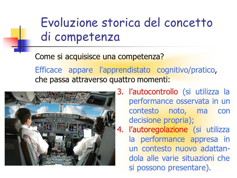 Evoluzione storica del concetto di competenza Come si acquisisce una competenza? Efficace appare l'apprendistato cognitivo/pratico, che passa attraver