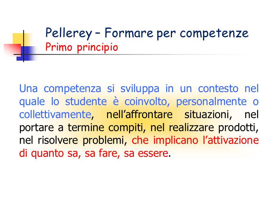 Pellerey – Formare per competenze Primo principio Una competenza si sviluppa in un contesto nel quale lo studente è coinvolto, personalmente o collett