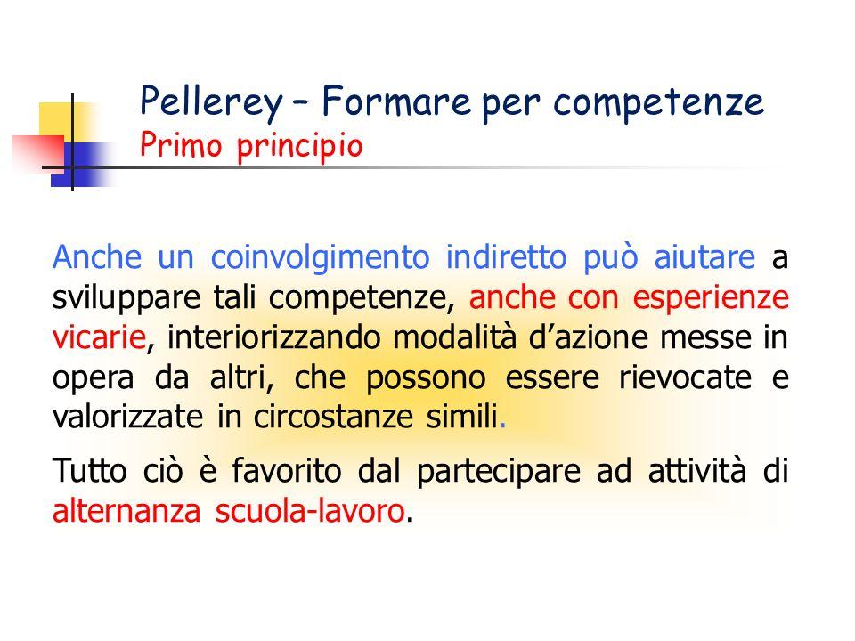 Pellerey – Formare per competenze Primo principio Anche un coinvolgimento indiretto può aiutare a sviluppare tali competenze, anche con esperienze vic