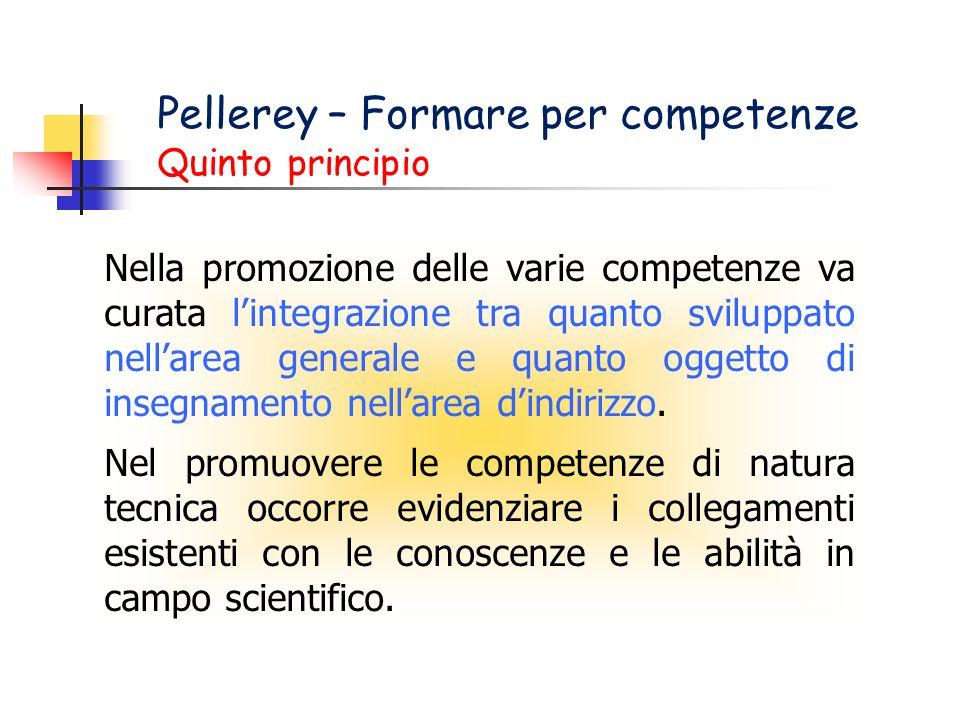 Pellerey – Formare per competenze Quinto principio Nella promozione delle varie competenze va curata lintegrazione tra quanto sviluppato nellarea generale e quanto oggetto di insegnamento nellarea dindirizzo.