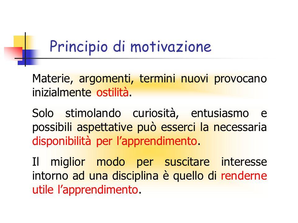 Principio di motivazione Solo stimolando curiosità, entusiasmo e possibili aspettative può esserci la necessaria disponibilità per lapprendimento. Il