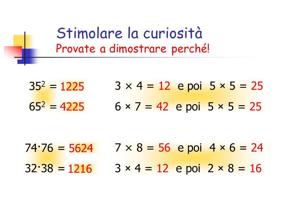 Stimolare la curiosità Provate a dimostrare perché! 35 2 = 65 2 = 3 × 4 = 12 e poi 5 × 5 = 25 6 × 7 = 42 e poi 5 × 5 = 25 74·76 = 32·38 = 7 × 8 = 56 e