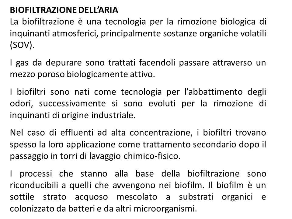 BIOFILTRAZIONE DELLARIA La biofiltrazione è una tecnologia per la rimozione biologica di inquinanti atmosferici, principalmente sostanze organiche vol
