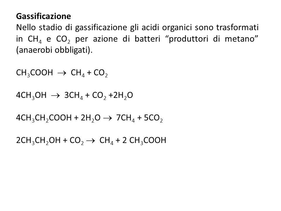 Gassificazione Nello stadio di gassificazione gli acidi organici sono trasformati in CH 4 e CO 2 per azione di batteri produttori di metano (anaerobi