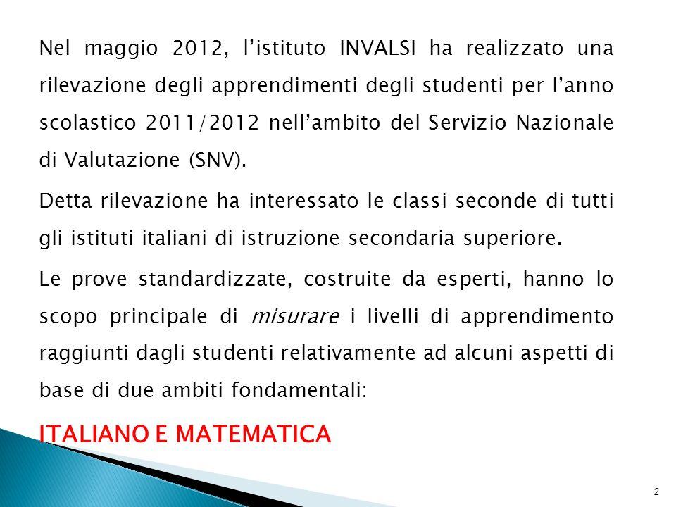 Nel maggio 2012, listituto INVALSI ha realizzato una rilevazione degli apprendimenti degli studenti per lanno scolastico 2011/2012 nellambito del Servizio Nazionale di Valutazione (SNV).