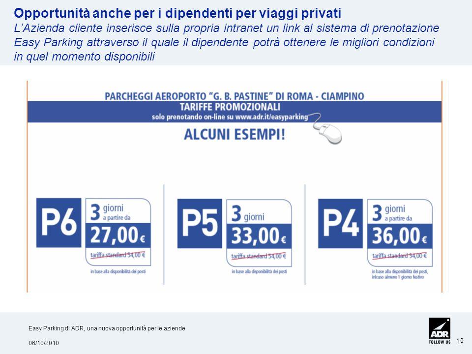 06/10/2010 Easy Parking di ADR, una nuova opportunità per le aziende 10 Opportunità anche per i dipendenti per viaggi privati LAzienda cliente inseris
