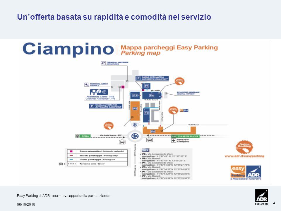06/10/2010 Easy Parking di ADR, una nuova opportunità per le aziende 4 Unofferta basata su rapidità e comodità nel servizio