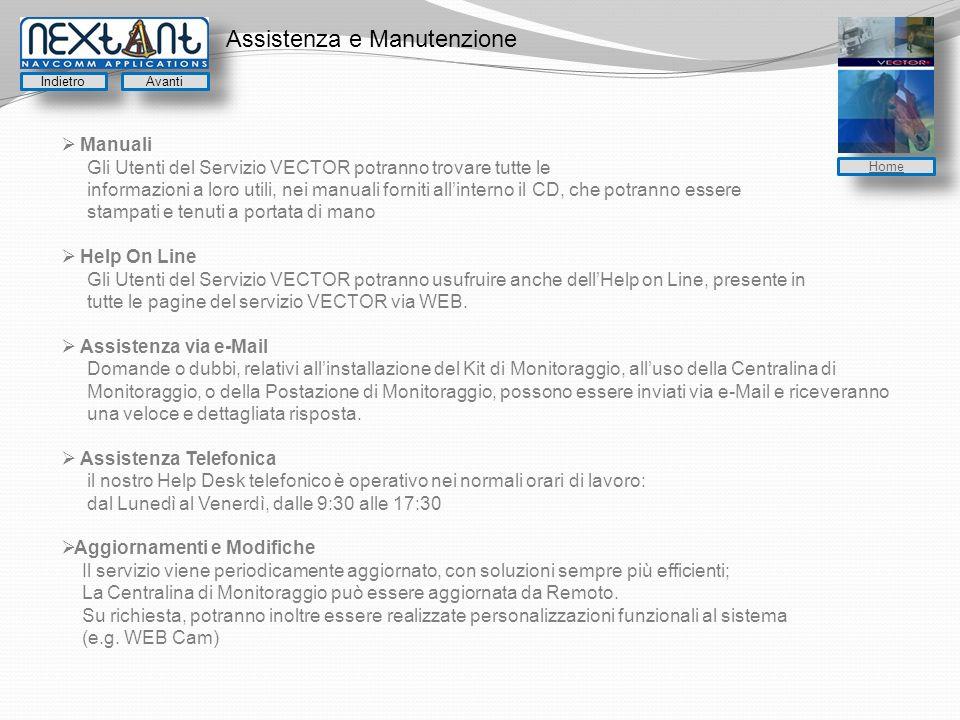 Assistenza e Manutenzione Manuali Gli Utenti del Servizio VECTOR potranno trovare tutte le informazioni a loro utili, nei manuali forniti allinterno i