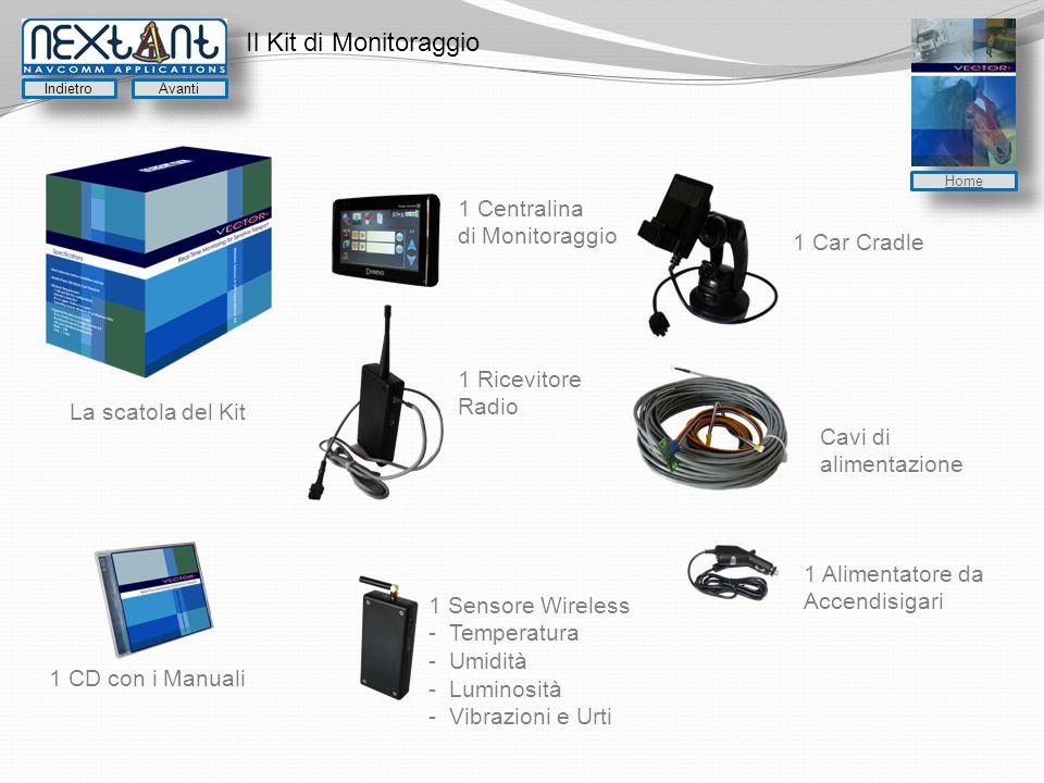 Il Kit di Monitoraggio La scatola del Kit 1 Centralina di Monitoraggio 1 Car Cradle 1 Ricevitore Radio Cavi di alimentazione 1 Sensore Wireless - Temperatura - Umidità - Luminosità - Vibrazioni e Urti 1 Alimentatore da Accendisigari 1 CD con i Manuali Indietro Avanti Home