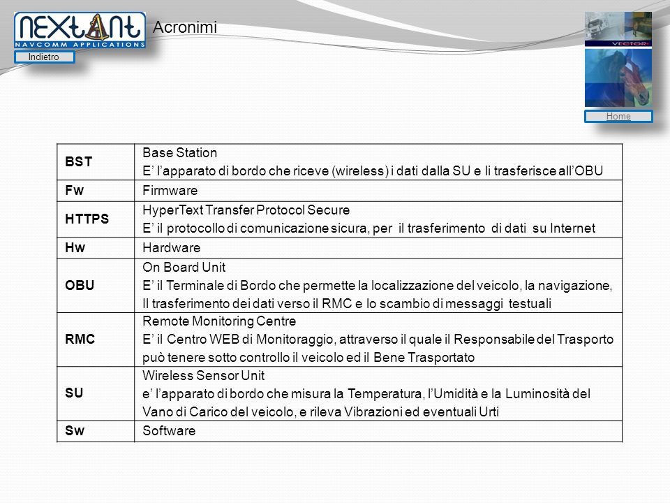 Acronimi BST Base Station E lapparato di bordo che riceve (wireless) i dati dalla SU e li trasferisce allOBU FwFirmware HTTPS HyperText Transfer Protocol Secure E il protocollo di comunicazione sicura, per il trasferimento di dati su Internet HwHardware OBU On Board Unit E il Terminale di Bordo che permette la localizzazione del veicolo, la navigazione, Il trasferimento dei dati verso il RMC e lo scambio di messaggi testuali RMC Remote Monitoring Centre E il Centro WEB di Monitoraggio, attraverso il quale il Responsabile del Trasporto può tenere sotto controllo il veicolo ed il Bene Trasportato SU Wireless Sensor Unit e lapparato di bordo che misura la Temperatura, lUmidità e la Luminosità del Vano di Carico del veicolo, e rileva Vibrazioni ed eventuali Urti SwSoftware Indietro Home