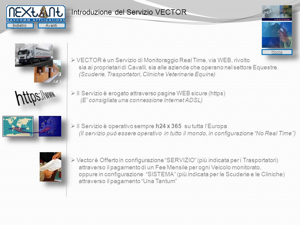 Introduzione del Servizio VECTOR VECTOR è un Servizio di Monitoraggio Real Time, via WEB, rivolto sia ai proprietari di Cavalli, sia alle aziende che operano nel settore Equestre.