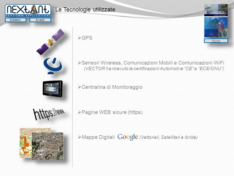 Le Tecnologie utilizzate GPS Sensori Wireless, Comunicazioni Mobili e Comunicazioni WiFi (VECTOR ha ricevuto le certificazioni Automotive CE e ECE/ONU) Centralina di Monitoraggio Pagine WEB sicure (https) Mappe Digitali (Vettoriali, Satellitari e Ibride) Indietro Avanti Home