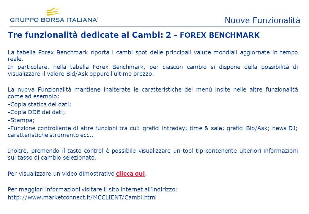 Tre funzionalità dedicate ai Cambi: 2 - FOREX BENCHMARK La tabella Forex Benchmark riporta i cambi spot delle principali valute mondiali aggiornate in tempo reale.