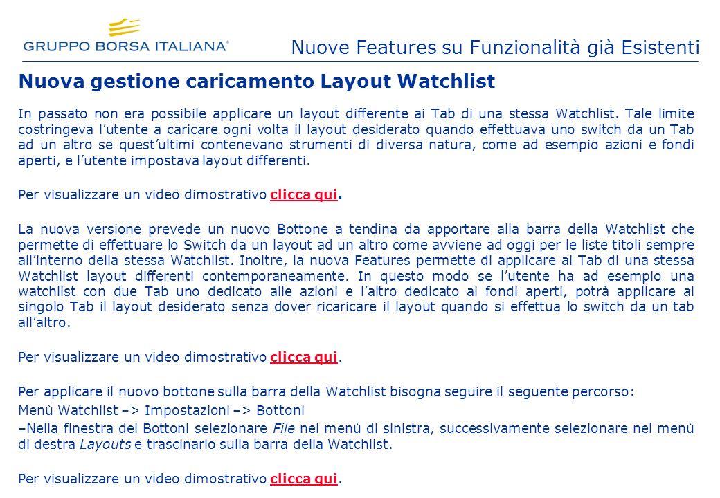 Nuova gestione caricamento Layout Watchlist In passato non era possibile applicare un layout differente ai Tab di una stessa Watchlist.