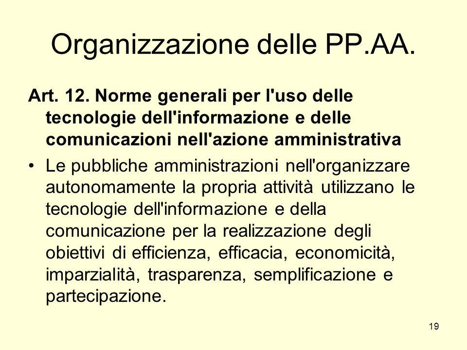 19 Organizzazione delle PP.AA. Art. 12.
