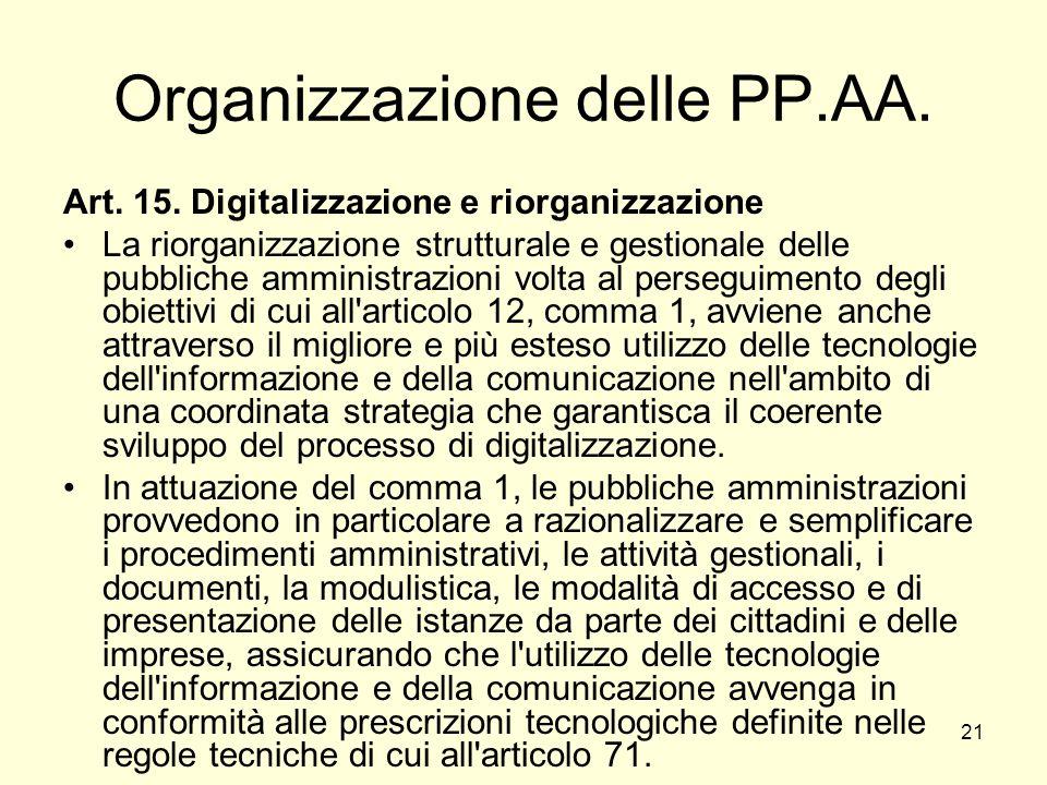 21 Organizzazione delle PP.AA. Art. 15.