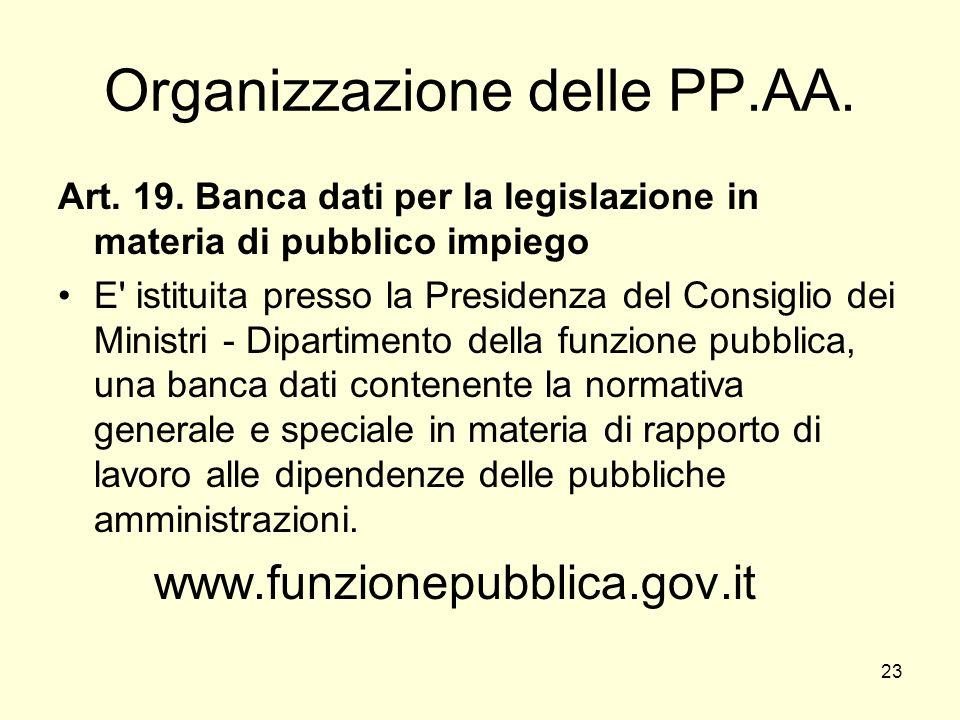 23 Organizzazione delle PP.AA. Art. 19.