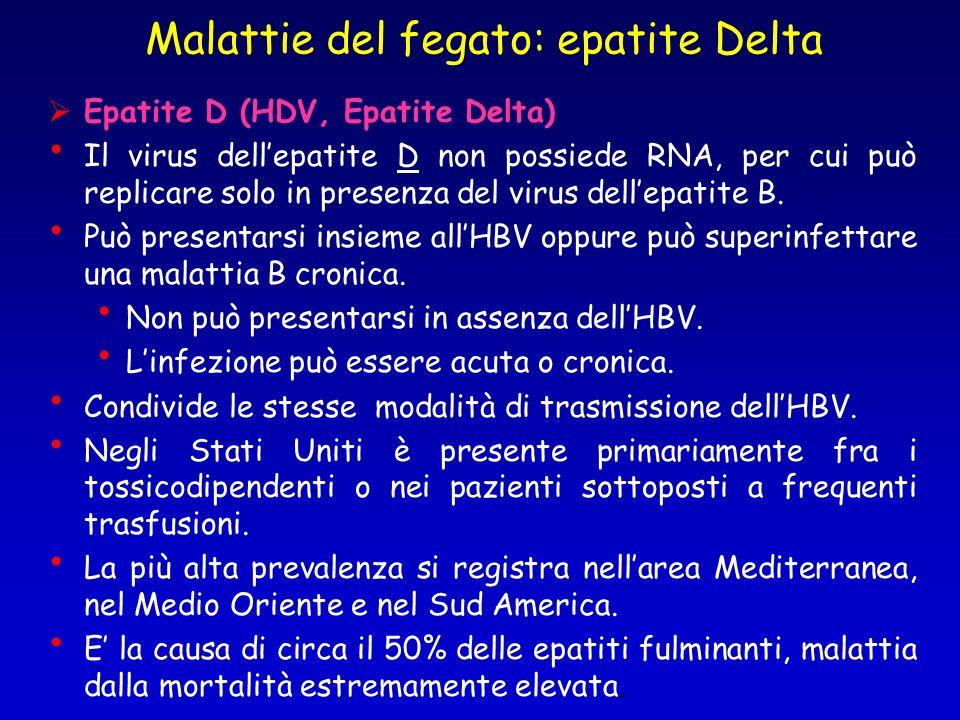 Epatite D (HDV, Epatite Delta) Il virus dellepatite D non possiede RNA, per cui può replicare solo in presenza del virus dellepatite B. Può presentars