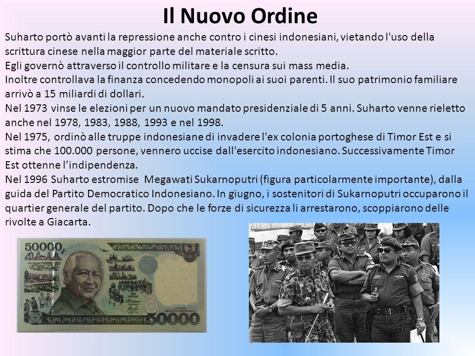 Il Nuovo Ordine Suharto portò avanti la repressione anche contro i cinesi indonesiani, vietando l uso della scrittura cinese nella maggior parte del materiale scritto.