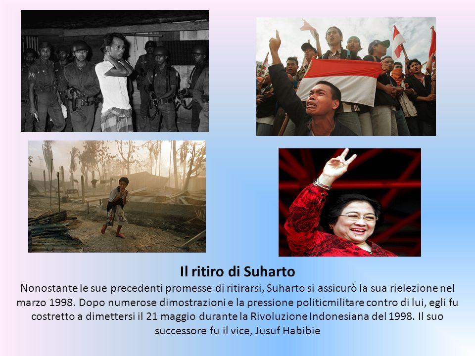 Il ritiro di Suharto Nonostante le sue precedenti promesse di ritirarsi, Suharto si assicurò la sua rielezione nel marzo 1998.