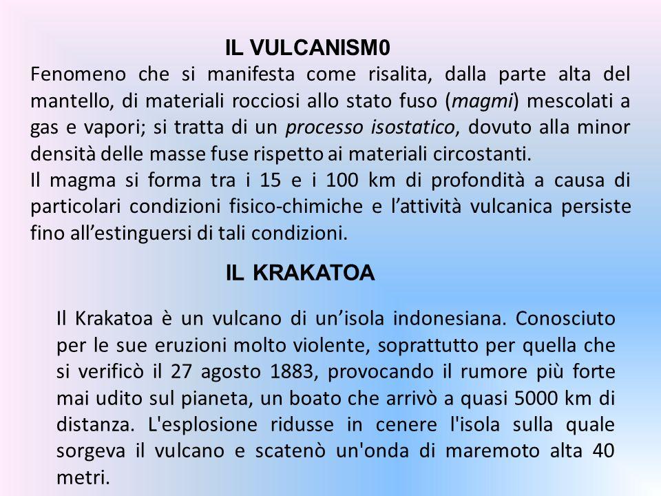 IL VULCANISM0 Fenomeno che si manifesta come risalita, dalla parte alta del mantello, di materiali rocciosi allo stato fuso (magmi) mescolati a gas e vapori; si tratta di un processo isostatico, dovuto alla minor densità delle masse fuse rispetto ai materiali circostanti.