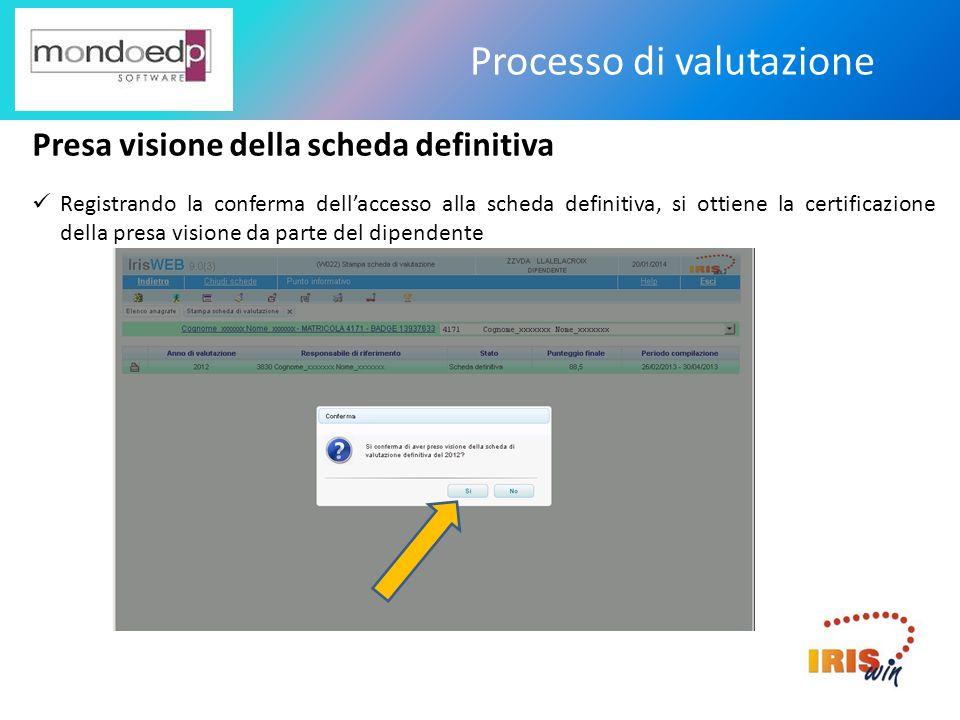 Processo di valutazione Presa visione della scheda definitiva Registrando la conferma dellaccesso alla scheda definitiva, si ottiene la certificazione