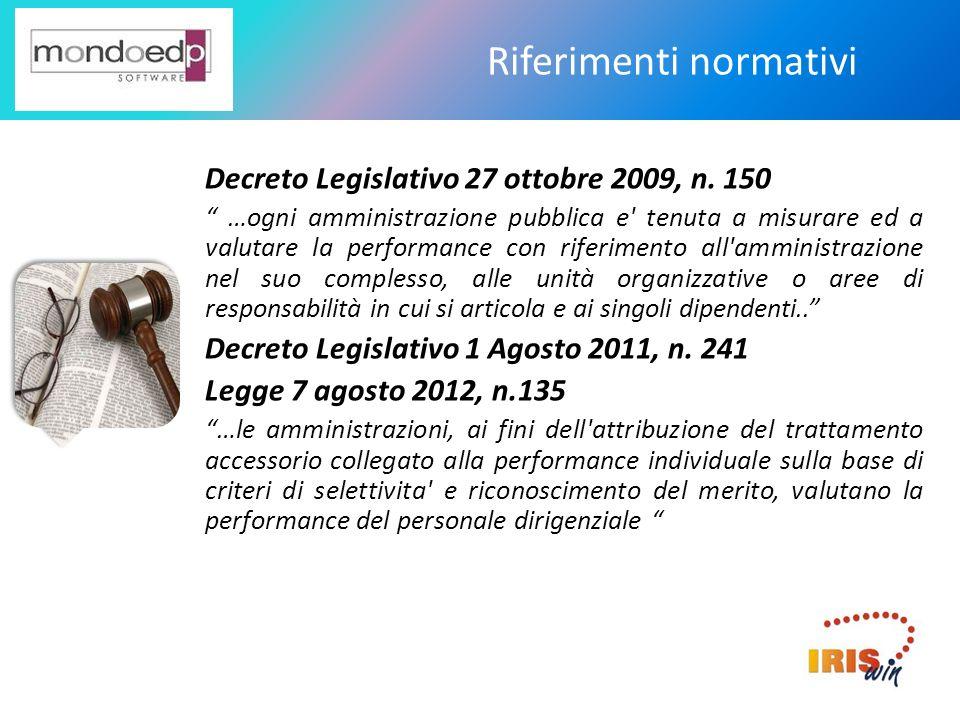Riferimenti normativi Decreto Legislativo 27 ottobre 2009, n. 150 …ogni amministrazione pubblica e' tenuta a misurare ed a valutare la performance con