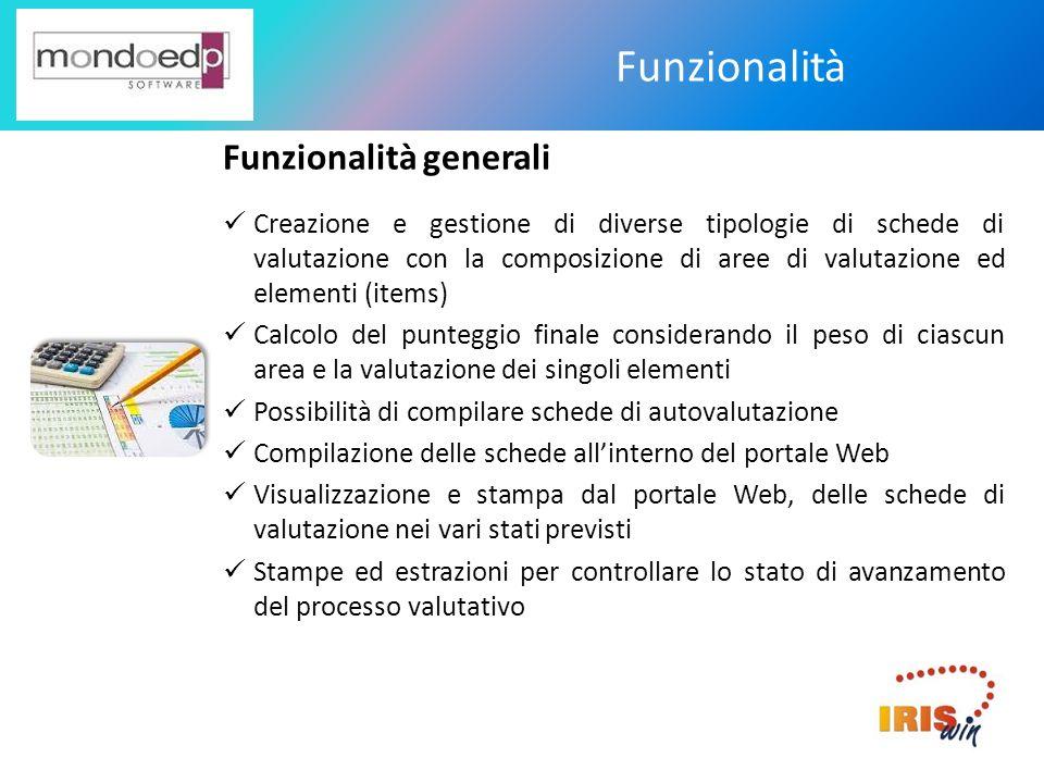 Funzionalità Funzionalità generali Creazione e gestione di diverse tipologie di schede di valutazione con la composizione di aree di valutazione ed el