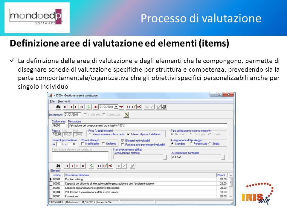 Processo di valutazione Definizione aree di valutazione ed elementi (items) La definizione delle aree di valutazione e degli elementi che le compongon